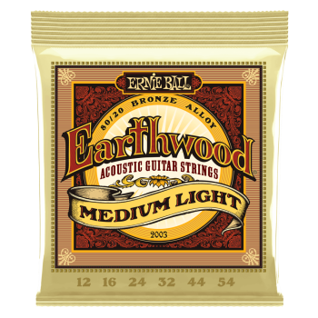 2003 Ernie Ball Earthwood Medium Light 80/20 Bronze Acoustic Guitar Strings - 12-54 Gauge