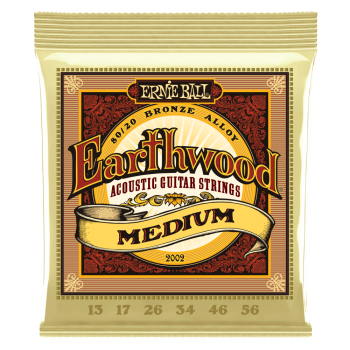 2002 Ernie Ball Earthwood Medium 80/20 Bronze Acoustic Guitar Strings - 13-56 Gauge